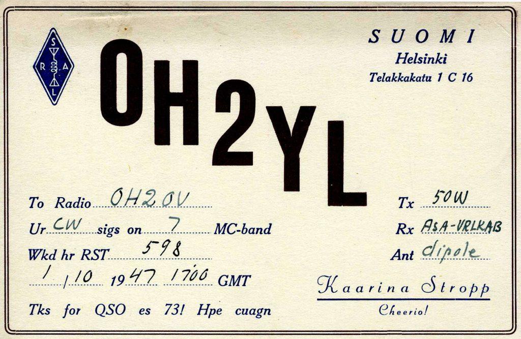 QSL-kortti.