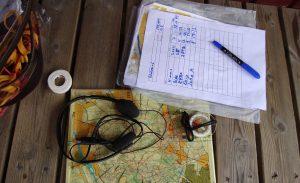 Kuulokkeet, kartta ja kompassi.