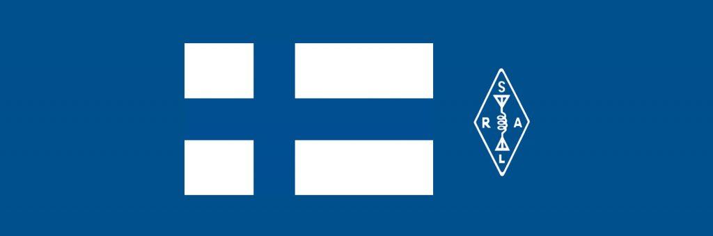 Suomen lippu ja SRAL:n logo.