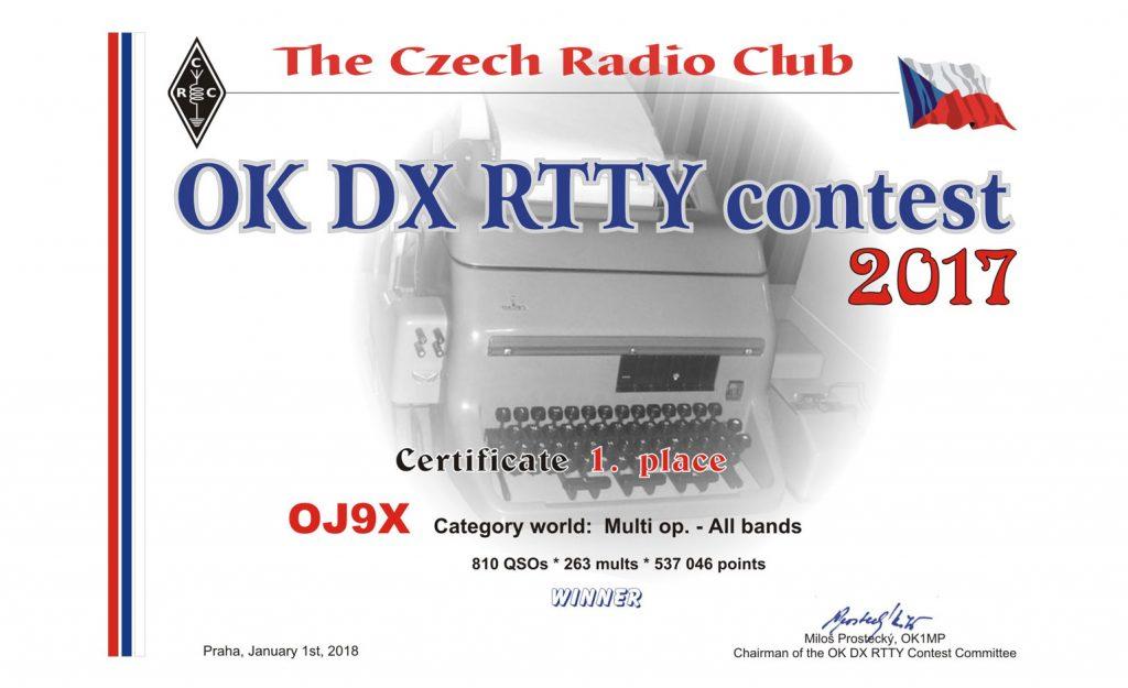 OK DX RTTY -kontestin kunniakirja.