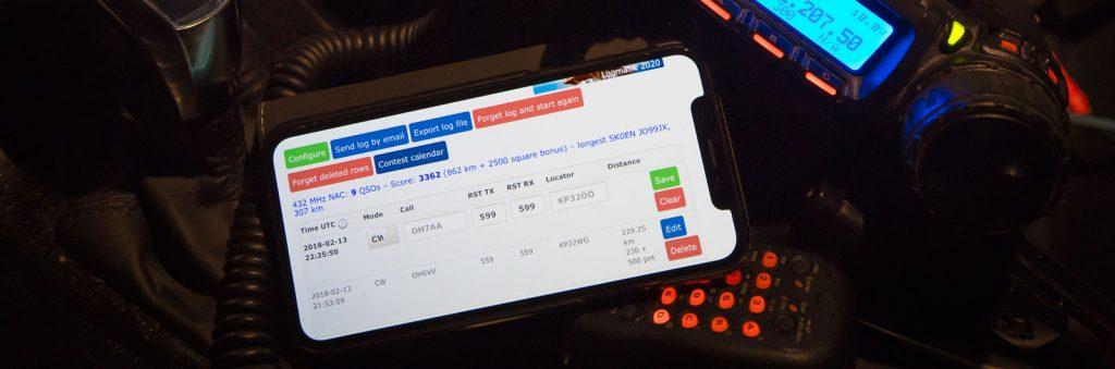 Lokiohjelma puhelimessa, 70 cm:n NAC menossa.