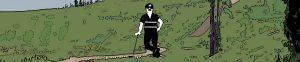 Mies nojailee golfmailaan golfkentällä.
