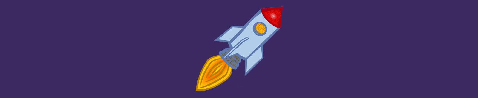 Piirretty raketti.