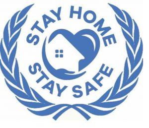 Sinivalkoinen logo tekstillä STAY HOME STAY SAFE.