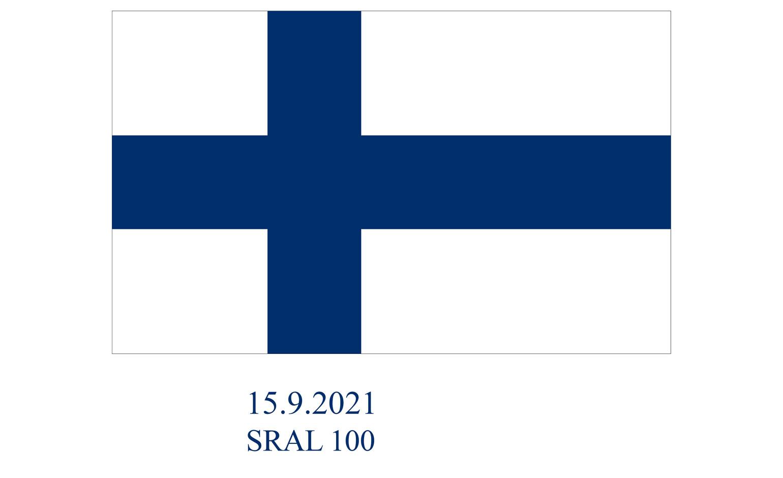 Suomen lippu, sininen risti valkoisella pohjalla.