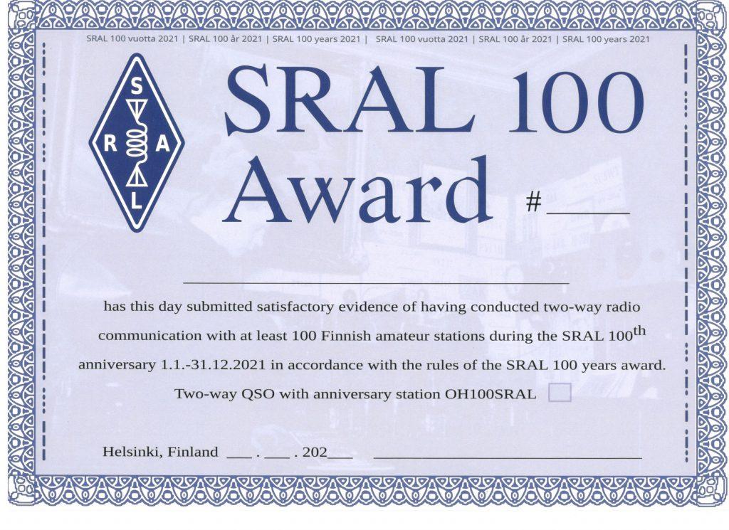 SRAL 100 Award
